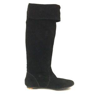 Gianni Bini Black Tall Flat Leather Boots 6.5 GUC